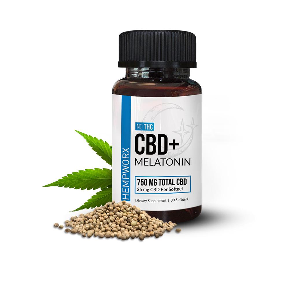 Hempworx CBD Melatonin Softgels - CBD+ Melatonin Broad Spectrum